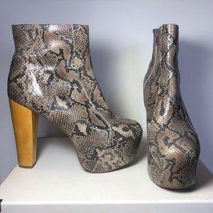 Brown ID by Jeffrey Campbell snake skin platform